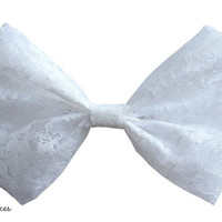 White Lace Hair Bow by craftsbyfrances on Etsy