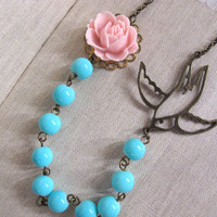 Nature Inspired. Soft Pink Rose Bud With Swallow Bird Neon Blue Glass Beads Nautical Necklace