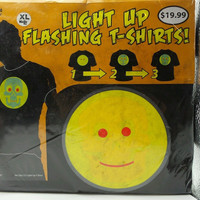 Light Up Flashing Tee Shirt Smiley Face Skull Black Club Halloween Party New XL