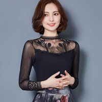 embroidered gauze bottoming shirt elegant female long-sleeved lace blouse women clothing casual lady stitching women tops
