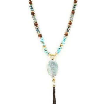 Braided Suede Semi Precious Necklace | Turquoise