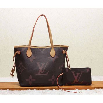 LV Louis Vuitton Fashion New Monogram Print Leather Leisure  Handbag Shoulder Bag Two Piece Suit Women Coffee