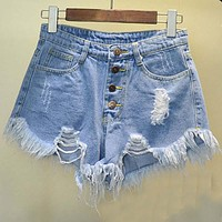 2016 European and American BF summer wind female blue high waist denim shorts women worn loose burr hole jeans shorts plus size