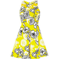 River Island Womens Yellow floral print skater dress