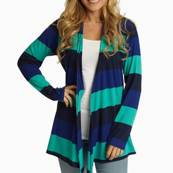 Royal Jade Navy Striped Colorblock Cardigan