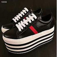 GUCCI 2018 new rainbow striped sports shoes platform shoes platform shoes F-OMDP-GD black