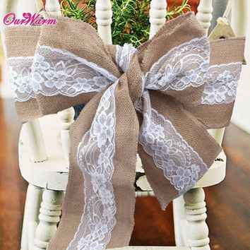 Lace Burlap Wedding Chair Sashes Bow Natural Hessian Jute Chair Cover for Wedding Decoration Home Hotel Banquet Chair Decoration
