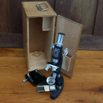 Vintage Junior Perfect Student Microscope Model 802 in Wood Box With Slides