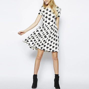 White Bird Pattern Short-Sleeve Skater Dress