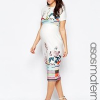 ASOS Maternity | ASOS Maternity Scuba Pencil Dress In Floral And Stripe at ASOS