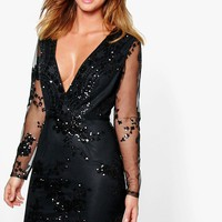 Boutique Fi Sequin Print Mesh Bodycon Dress