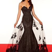 Romantic Strapless Black & White Pageant  Dress By Mac Duggal 50107R