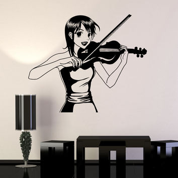 Vinyl Wall Decal Anime Girl Manga Music Violinist Teen Room Stickers Unique Gift (ig4503)