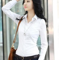 Spring  Autumn Women Career White Shirt Female Long-sleeved Slim Shirt Formal Blouse Overalls Large Size