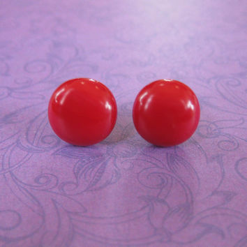 Bold Red Post Earrings, Hypoallergenic Stud Earrings, Christmas, Fused Glass Jewelry - Millie - 2267 -4