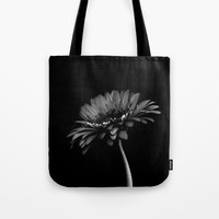 Daisy gerbera. Black and white Tote Bag by vanessagf