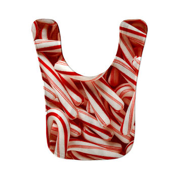 Candy Cane Red White Christmas Holiday Baby Bib