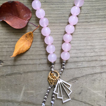 Rose Quartz Gemstone Silver, Canadian Made, Earth Jewelry, 108 Mala Beads, Yoga and Meditation Jewelry, Bohemian Necklace, Healing Crystals