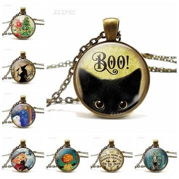 Halloween Necklace Kitty Black Cat Christmas Tree Witch and Raven Snowman Pumpkin Love Pendant  Glass Cabochon Exquisite
