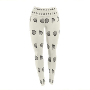 "KESS Original ""Phases Of The Moon"" Beige Gray Yoga Leggings"