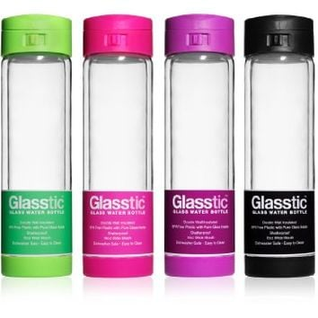 Glasstic Shatterproof Glass Water Bottle - 16oz - Flip Cap Sports Water Bottle - Purple