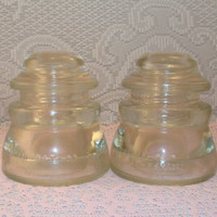 Vintage Insulators Two 2 Glass Electrical Telephone 1950 1954 Collectible Hemingray 45  Clear USA Crafts DIY Candle Holder