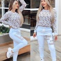 FENDI Women Fashion Letter Pullover Sweater Pants Set Two-Piece