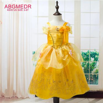 2017 New Upgrade Style Girls Cinderella Dress Girls Party Dresses Kids Princess Dress Children Aurora Belle Cosplay Costume