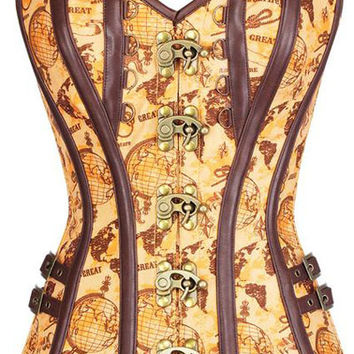 Tan Satin Globe Print Overbust Corset with Thong