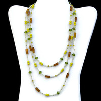 Three Strand Yellow Green Brown Necklace, Unique Colorful Beaded Jewelry, OOAK