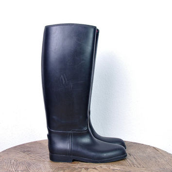SALE 40% off - 90s Riding Rubber Insulated Boots / Equestrian / Wellingtons Wellies Waterproof Boots / Made in Czech Republic
