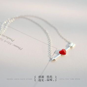 New Sweet Fashion 925 Sterling Silver Jewelry At First Sight Love Red Heart Shaped Arrow Personality Pendant Necklaces H202