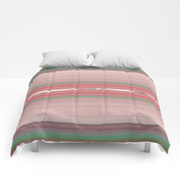 Aztec Blush Coral Aqua Stripe Pattern Comforters by Sheila Wenzel