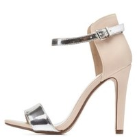 Metallic Color Block Single Strap Heels