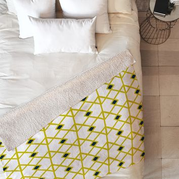 Heather Dutton Annika Diamond Citron Fleece Throw Blanket