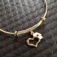 Nurse Hat Charm Gold Expandable Bracelet Adjustable Wire Bangle Handmade In USA Trendy Stacking