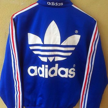 CLEARANCE SALE 90's Vintage Adidas Sweater Blue Zipper Sweatshirt Big Logo Hip Hop Fashion Style Swag