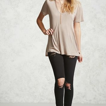 Slub Knit V-Neck Tee