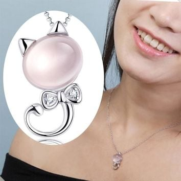 Silver Necklace Kitten Powder Crystal Pendant Female Furong Stone Pendant Special A Nice Gift