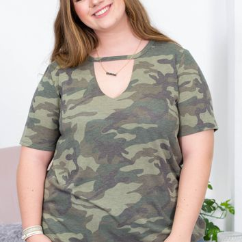 Cheryl Army Cut Out Tee | Plus