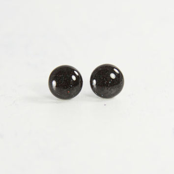 ONYX - Black Stud Earrings - Little Black Earrings - Tiny Stud Earrings - Midnight - Handmade Post Earrings by Ear Sugar