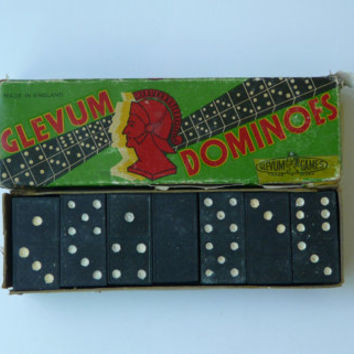 Set Full Vintage Glevum Dominoes Black Domino Board Game 60s Gift for Kids Domino Set Family England