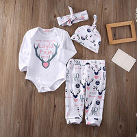 Newborn Baby Clothes Cotton Baby set Baby Girls Romper+Pants Hat Xmas Deer Clothes Outfits Set