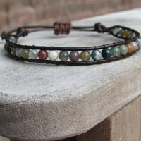 beaded woven leather bracelet - green/multi fancy jasper - adjustable