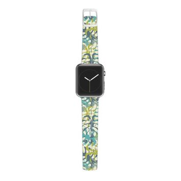 Kess InHouse Julia Grifol 38mm Apple Watch Strap - Non-Retail Packaging - Tropical Leaves