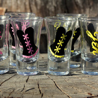 7 Personalized shot glasses.Great for bachelorette and wedding parties. Corset or Dress.