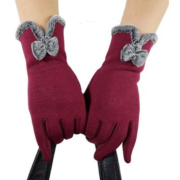 Fashion Womens Winter Outdoor Sport Warm Gloves Full Finger Touch Screen Warm Gloves Black Gray