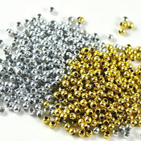 Jewellery Round Ball Beads Plastic Available in Gold and Silver Jewellery Costume and Craft Supplies 2mm - choose your quantity