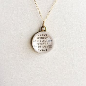 I Love Myself and I Allow Myself to Be Loved Fully, Affirmation P.O.M. Candy 14k Gold Filled Necklace