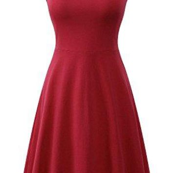 Sarin Mathews Womens Dresses Casual Sleeveless Scoop Neck Summer Beach Midi Flared Tank Dress